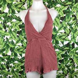 TOBI Mauve Braided Halter Open Back Romper
